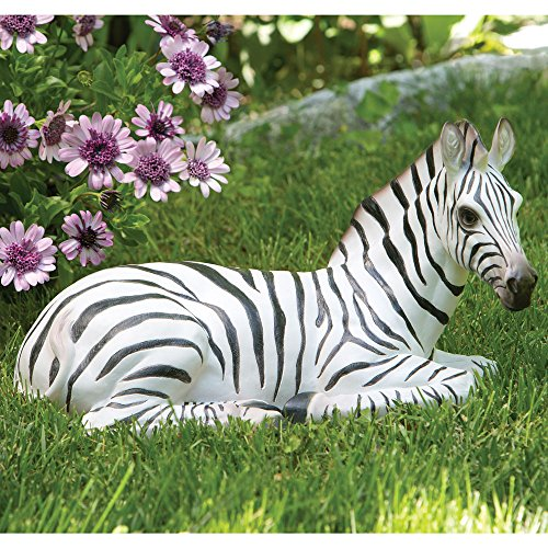 Bits and Pieces Zoey the Zebra - Sculpture for Your Garden, Lawn or Patio - Lifelike Durable Polyresin Statue - Garden (Patio Sculpture)