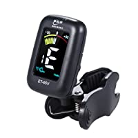 ammoon Clip-on Tuner Automatic Tuning Mode with Colorful LCD Display ENO ET-05SV for Violin Viola Cello Double Bass Chromatic