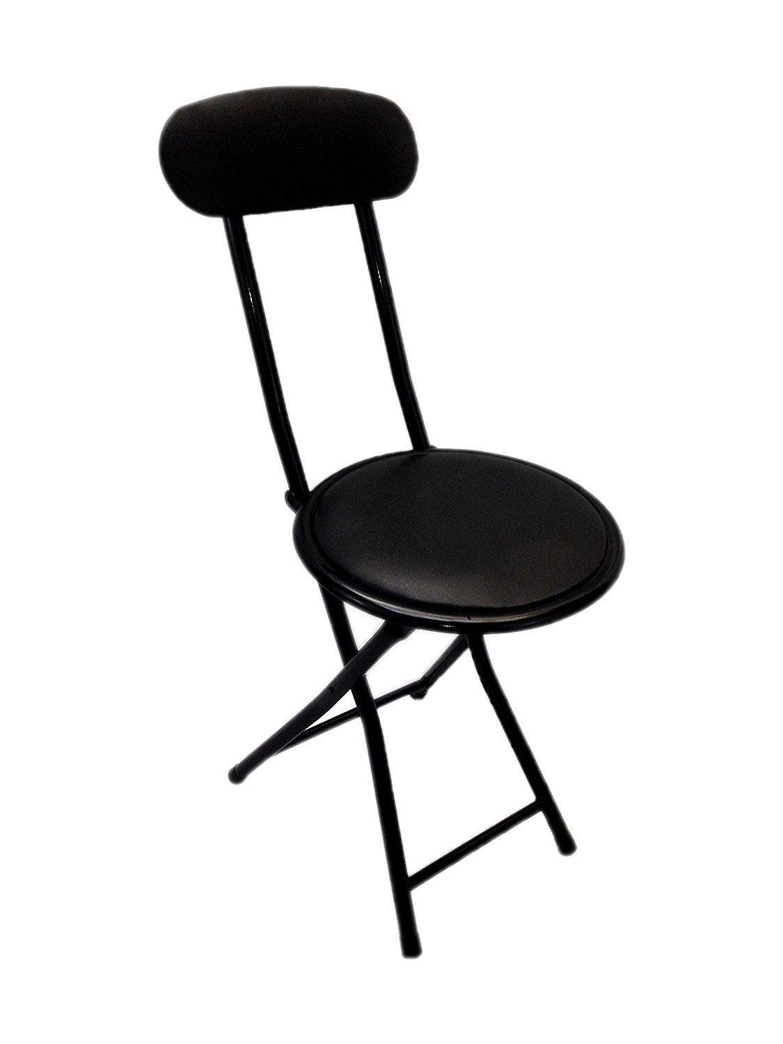 Ethels Home Goods E1206 Portable Small Black Folding Chair Padded With Lock Mechanism Easy Storage And Stackable