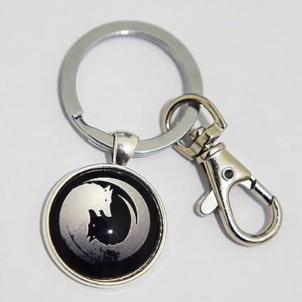 Llavero de lobo de lobo con colgante Yin Yang, llavero de ...