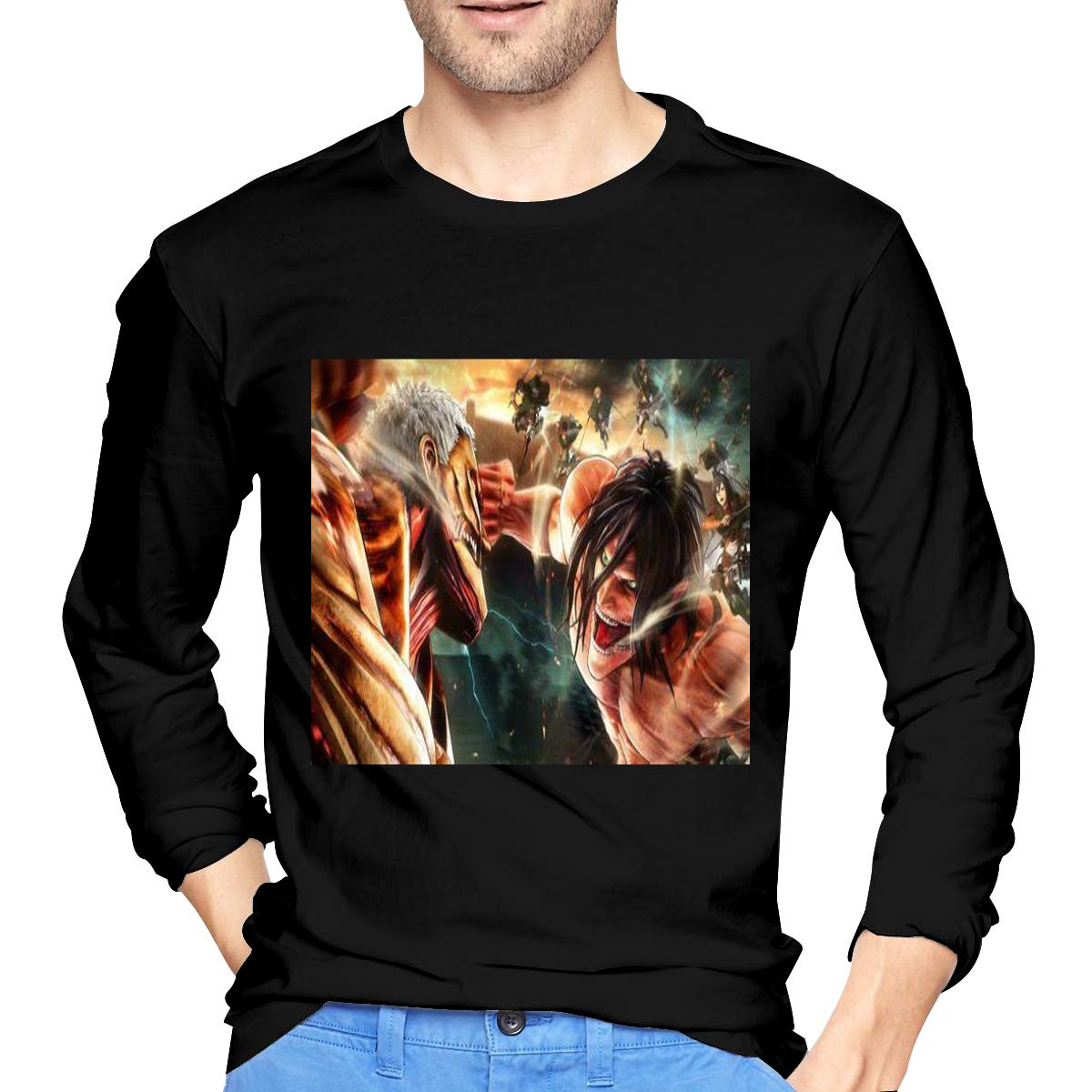 Lihehen Man Attack On Titan Simple Casual Round Neck Tees Shirts