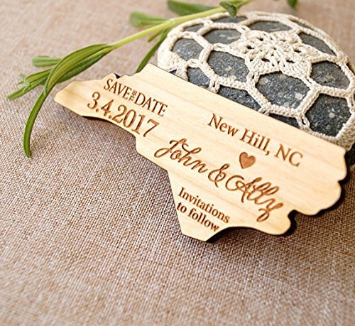 Wooden save the date magnets, US state shaped save the dates, rustic wedding save the dates, personalized magnets, set of 25 pc