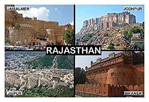 SOUVENIR FRIDGE MAGNET - RAJASTHAN INDIA 9cm x 6cm (3½ x 2½ inches) Jumbo (India Rajasthan)