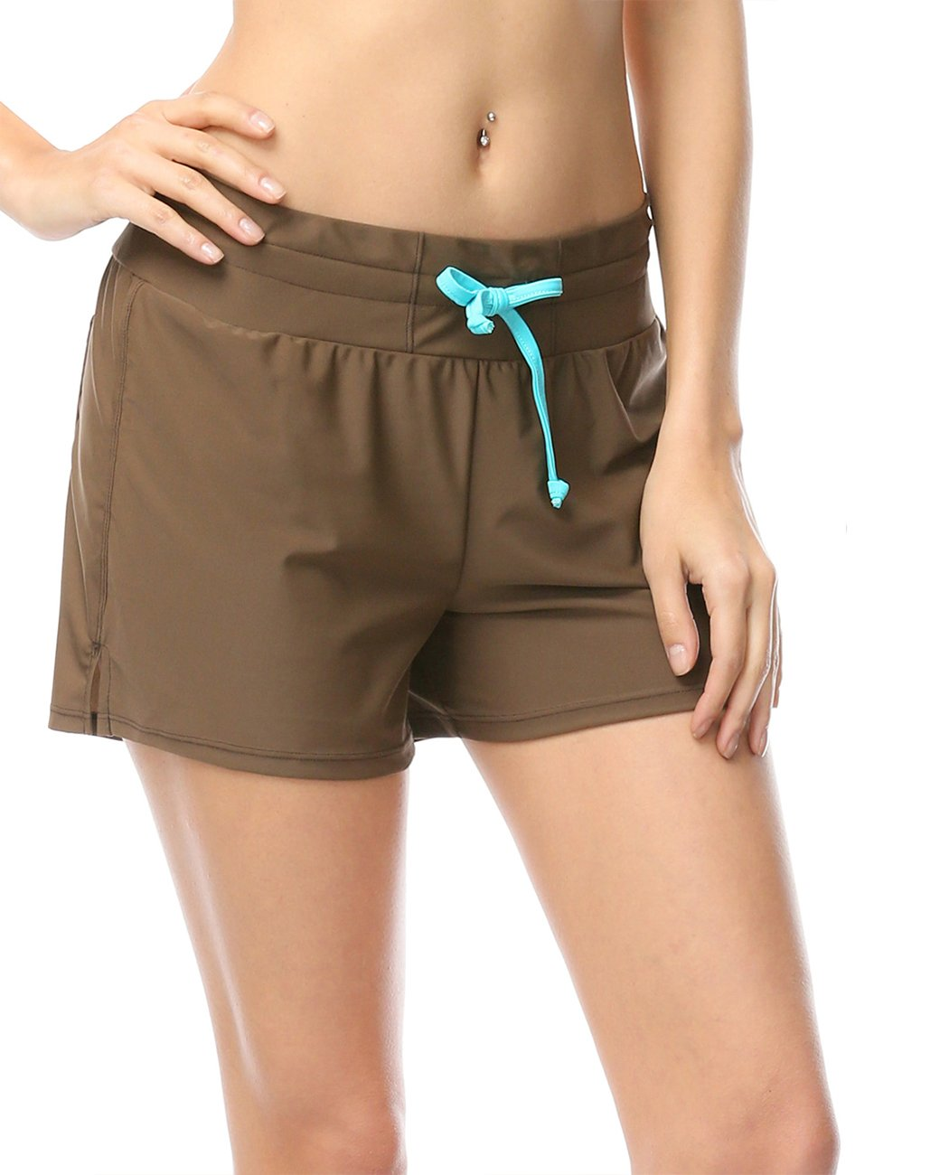 iDrawl Women Ladies Boy Leg Swimming Shorts Boy Style Adjustable Drawstring Swim Trunk Swimsuit XS to 2XL