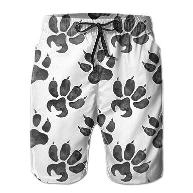 d148b6ca78 Woodland Animals Foot Prints Mens Summer Swim Trunks 3D Graphic Quick Dry  Funny Beach Board Shorts