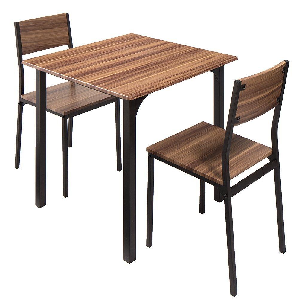 ダイニングセット ダイニングテーブルセット ダイニングテーブル ダイニングチェア チェア リビング おしゃれ 食卓 食卓セット (3点セット, ブラウン) B079T71593  ブラウン 3点セット
