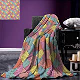 Geometric cool blanket Abstract Tile Pattern with Thin Stripes Colorful Vintage Square Shapes Design Pattern Multicolor size:50''x60''