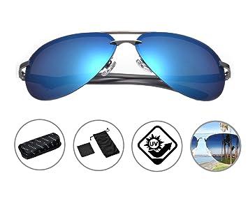 Zando Hombres Clásico aviador polarizadas sin montura gafas de sol Premium de moda del metal marco