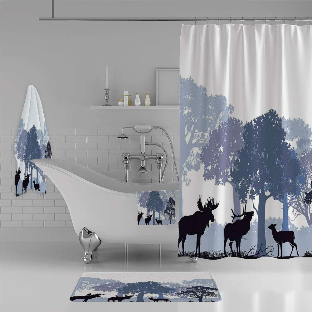 iPrint Bathroom 4 Piece Set Shower Curtain Floor mat Bath Towel 3D Print,Woods North American Wild Animals Deer Hare Elk,Fashion Personality Customization adds Color to Your Bathroom.
