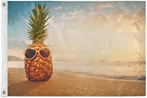 Hipster Pineapple with Sunglasses on Sandy at Tropical Beach Flag 3x5 Outdoor, 3' x 5' Decorative Cloth Flags with Brass Grommets for Outside Yard House Home Garden Patio Party Indoor Banner Decor La