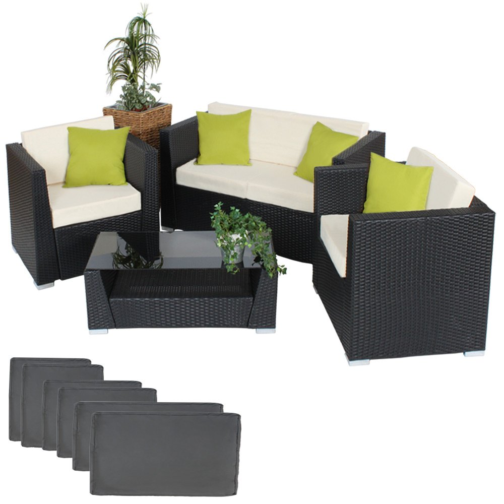 TecTake® Hochwertige Aluminium Luxus Lounge Poly-Rattan Sitzgruppe Sofa Rattanmöbel Gartenmöbel schwarz mit 2 Bezugsets und 4 extra Kissen mit Edelstahlschrauben