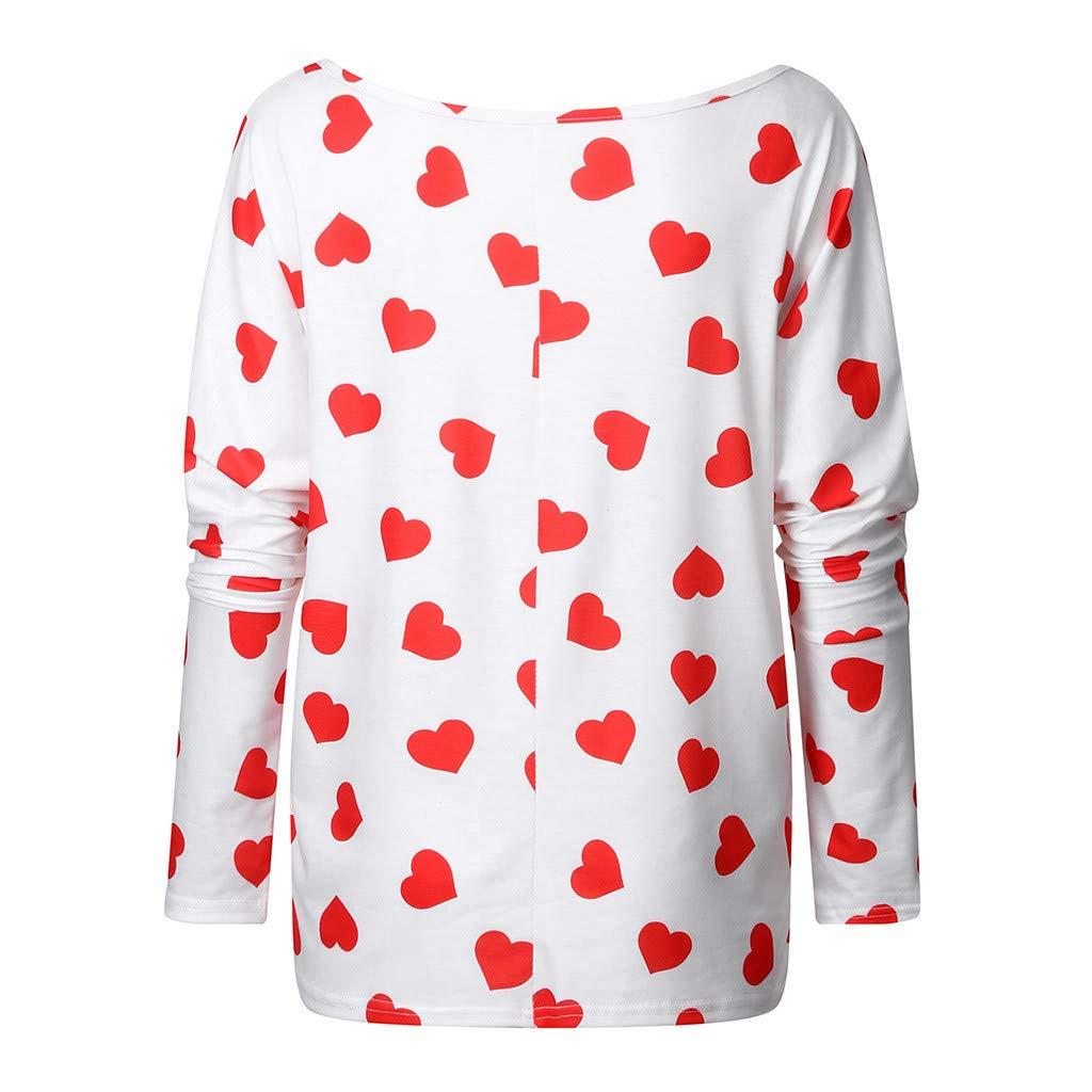 aihihe Womens Off Shoulder Long Sleeve Pullover Heart T Shirt Oversized Valentine Blouse Tops Tunic Sweatshirt