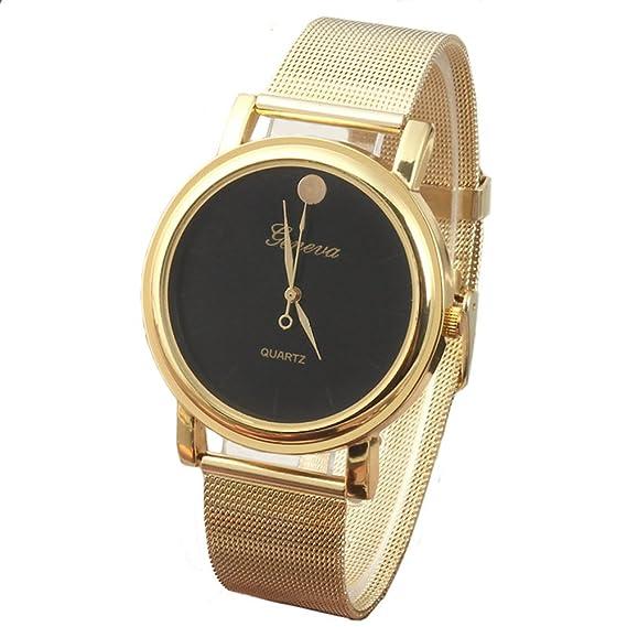 Reloj con correa de malla dorada (esfera negra)