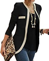 OULIU Women Elegant Slim Fit Color Matching OL Suit Jacket