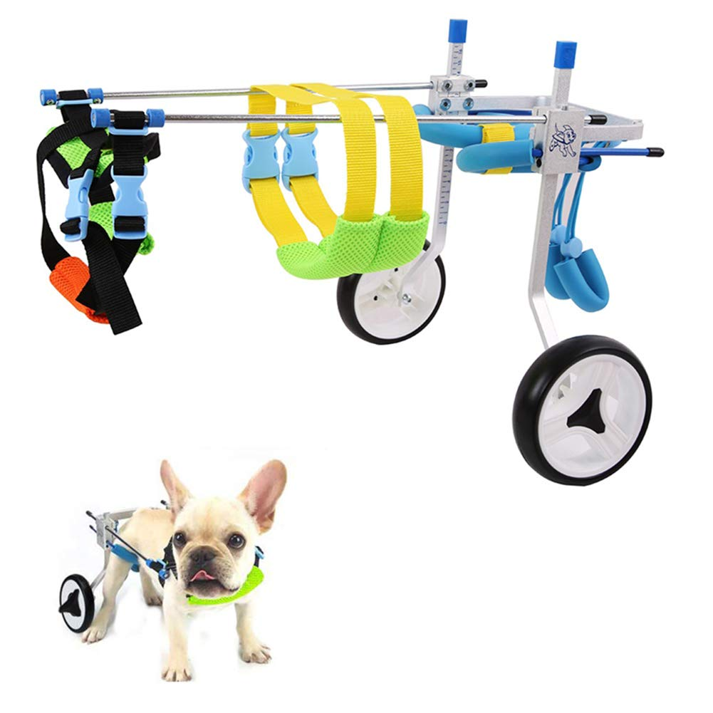ADAHX 2 Wheel Pet Dog Cat Wheelchair Aluminium Walk Cart Scooter for Handicapped Hind Leg Adjusted Wheelchair Fit for 3-15kg Pet