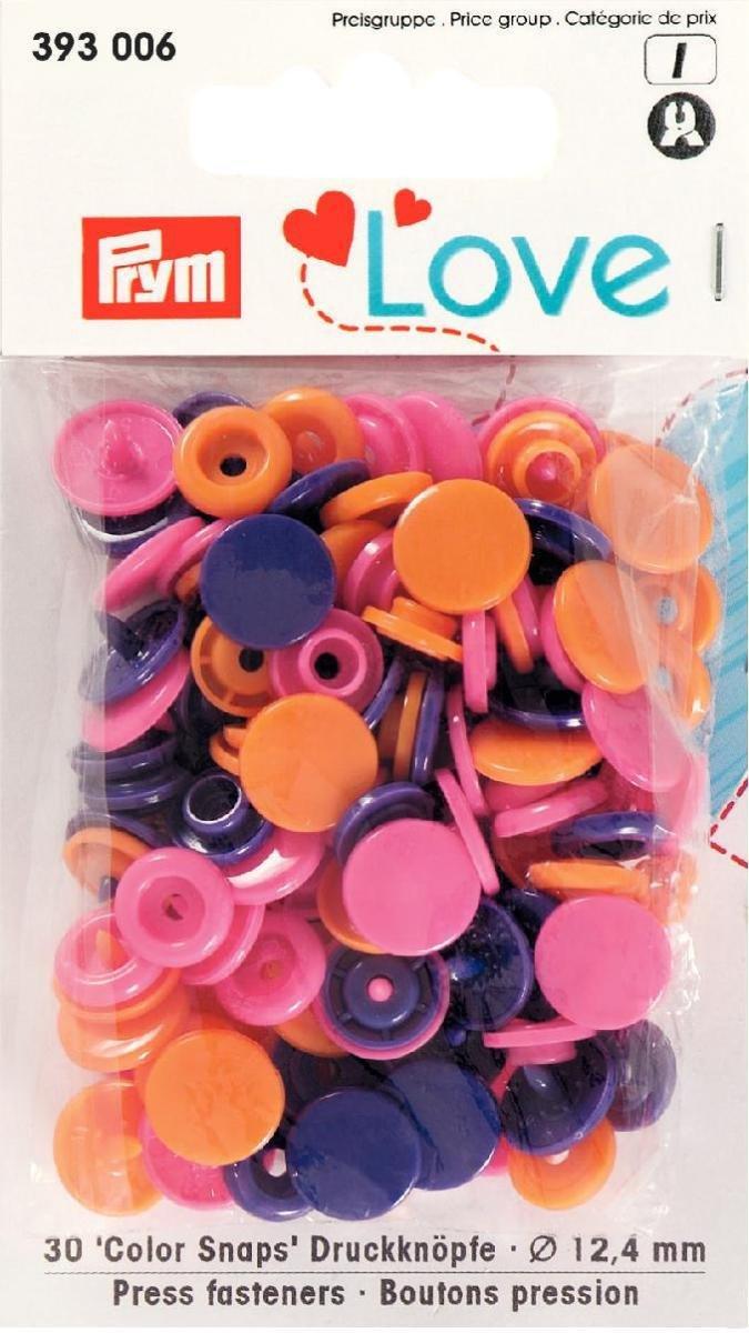 Prym 393006 Color snaps Prym Love Druckknopf Color KST 12, 4mm orange/pink/violett ***BITTE PRODUKTBESCHREIBUNG BEACHTEN*** PRYM_393006-1