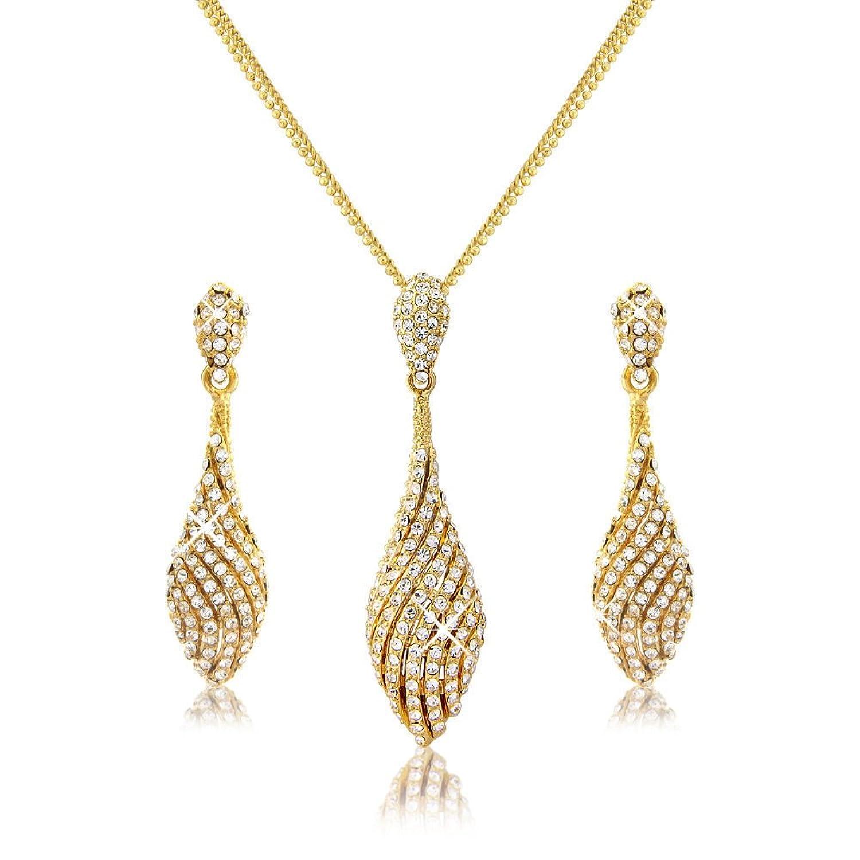 Elegant Bridal Set and Pearl Jewellery Set - 18K Gold Tone Pendant ...