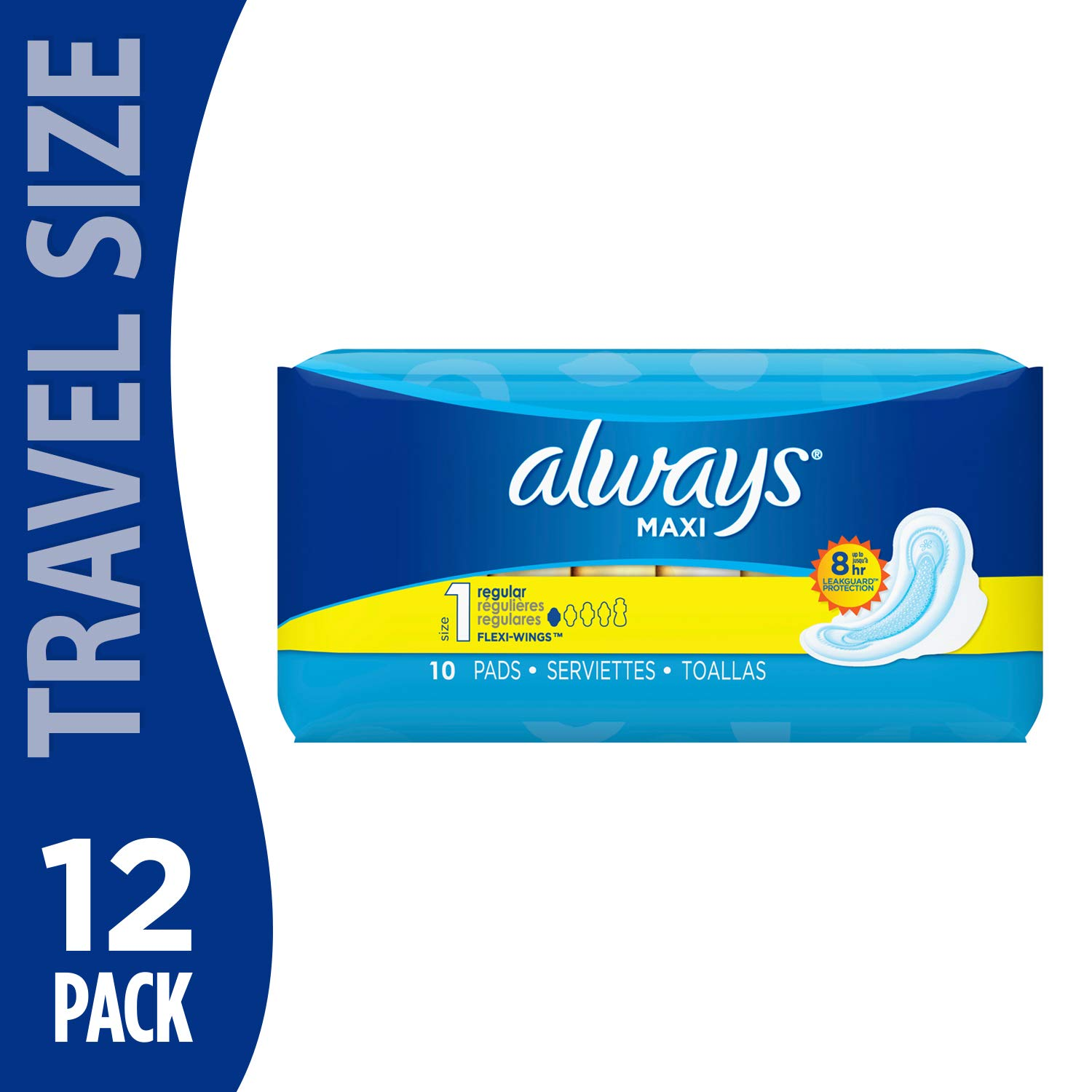 Always Maxi Regular Pads w/Flexi-Wings Size ONE - 10 Count (Pack of 12)