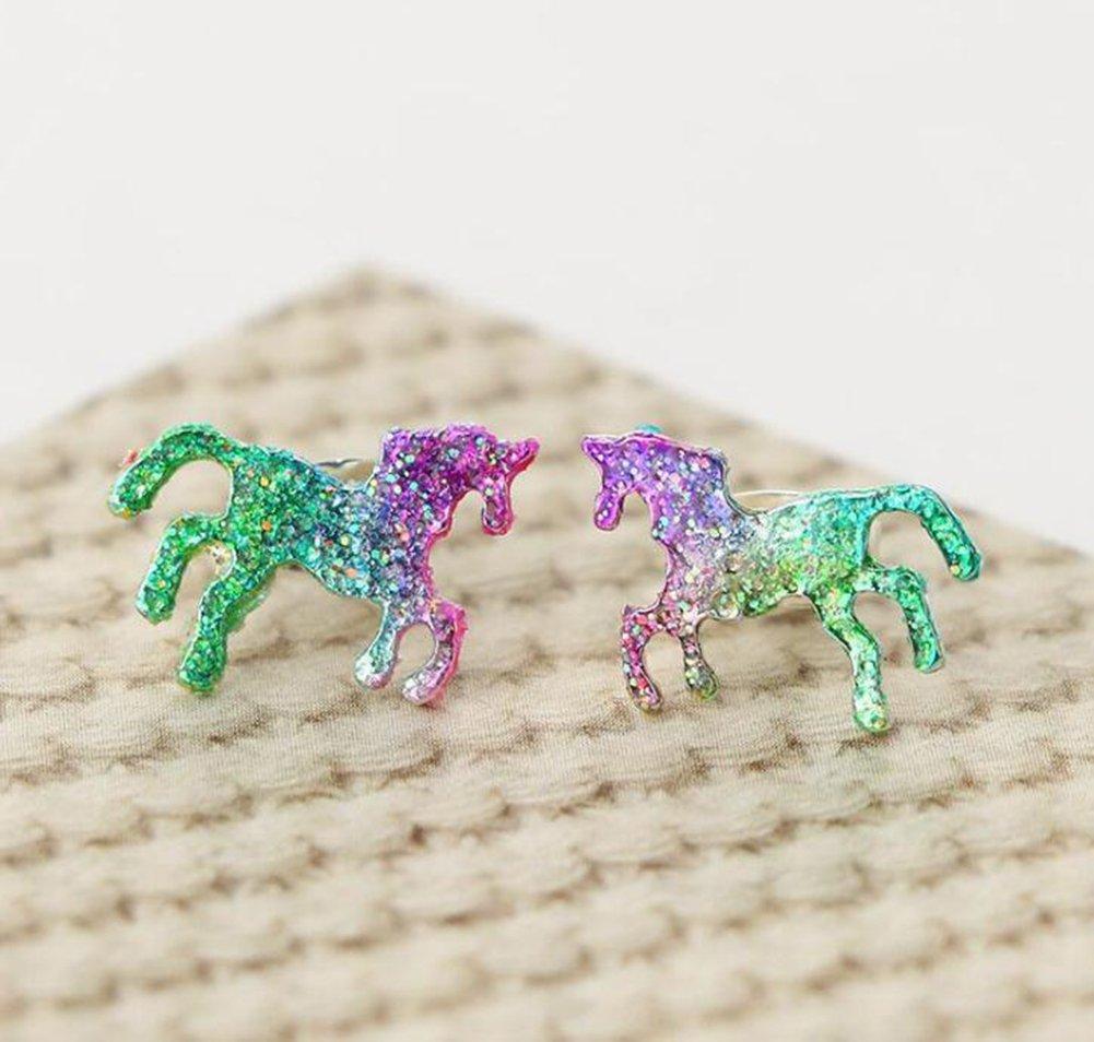 Pendientes Serie Lumanuby 1/par Dulce Multicolor Unicornio Pendientes para Ni/ña y Mujer Arco Iris Color Unicorn Ear Studs Regalo para Hija//Amiga