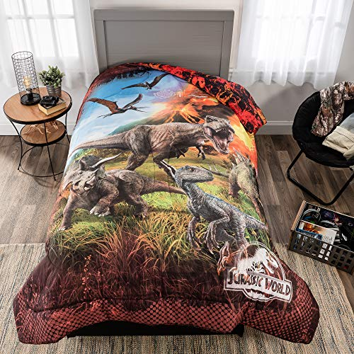 Universal Jurassic World Fallen Kingdom Soft Microfiber Reversible Comforter, Twin/Full
