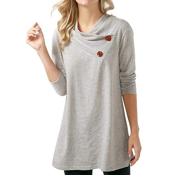 Camiseta de Mujer con Botones, Manga Larga Casual Top SunGren Camiseta de Manga Larga con
