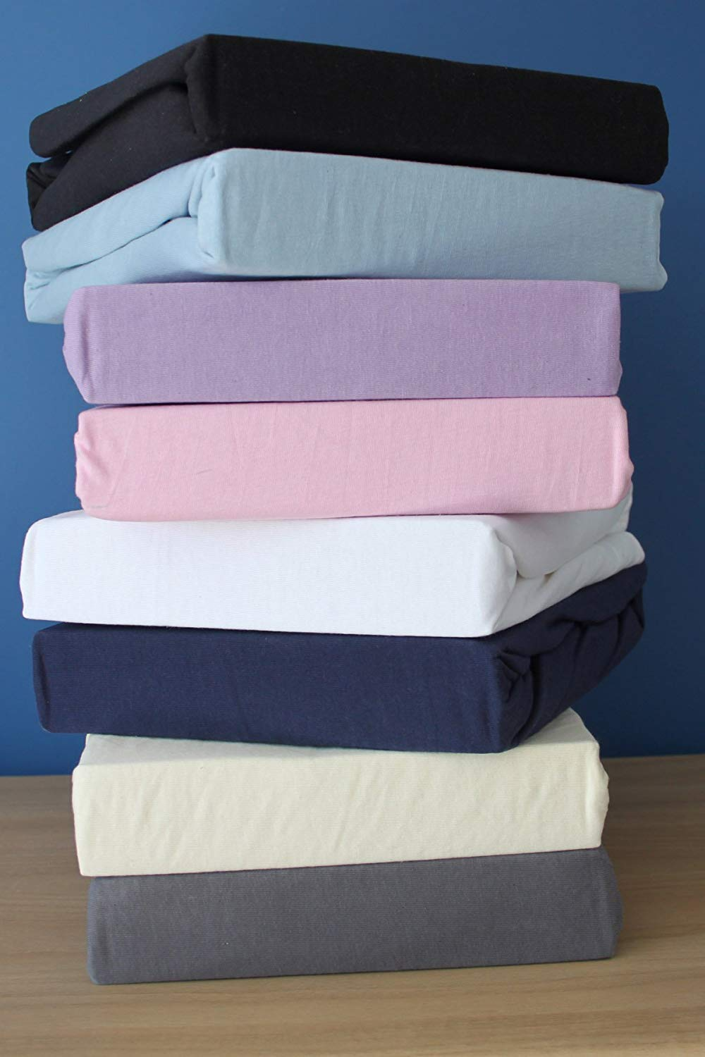100 cm x 200 cm Family Bedding 100 Percent Cotton Jersey Single Bed Fitted Sheet Lilac