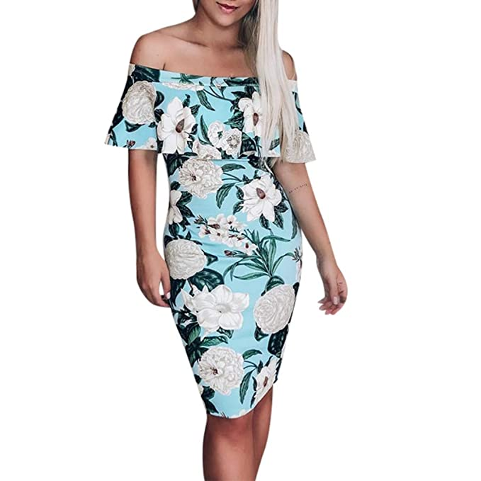 7d1a48bf8b2 YFancy Women s Summer Floral Bodycon Dress Elegant Off Shoulder Ruffle Midi  Dress Party Evening Dress Maxi