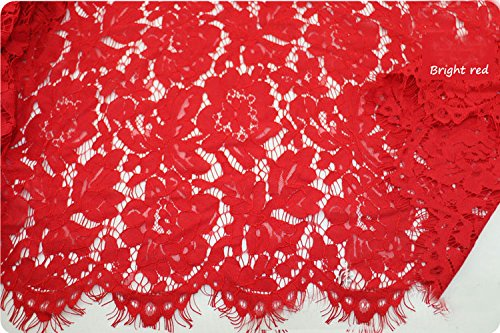KENLACE 1.5 m x 1.5 m Lash Embroidery Lace Fabrics Cotton Cord French Lace Fabric Guipure Nigeria African Lace For Wedding Dress (Red)
