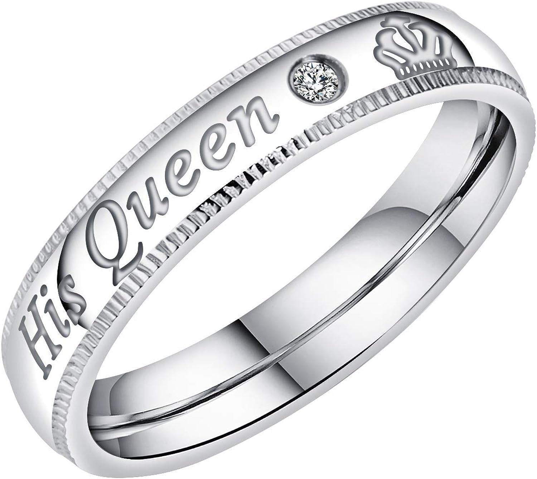 UMtrade Son Et Sien Acier Inoxydable Her King His Queen Grav/é Couples Amour Bague