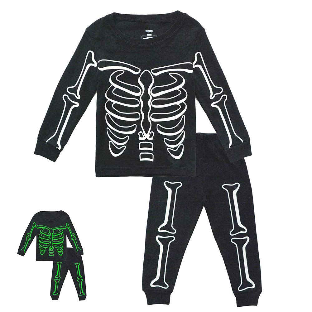 Toddler Boys Skeleton PJs Snug Fit Cotton Halloween Pajamas Set Kids Glow in The Dark Sleepwear