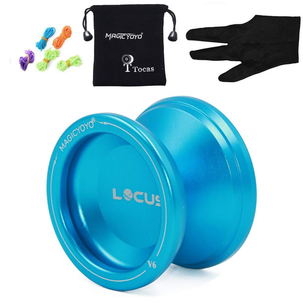 MAGICYOYO Professional Responsive Yoyo Ball for Beginners Starter Kids V6 LOCAS Space Yo-yos 5 Strings Gloves + Yo yos Bag