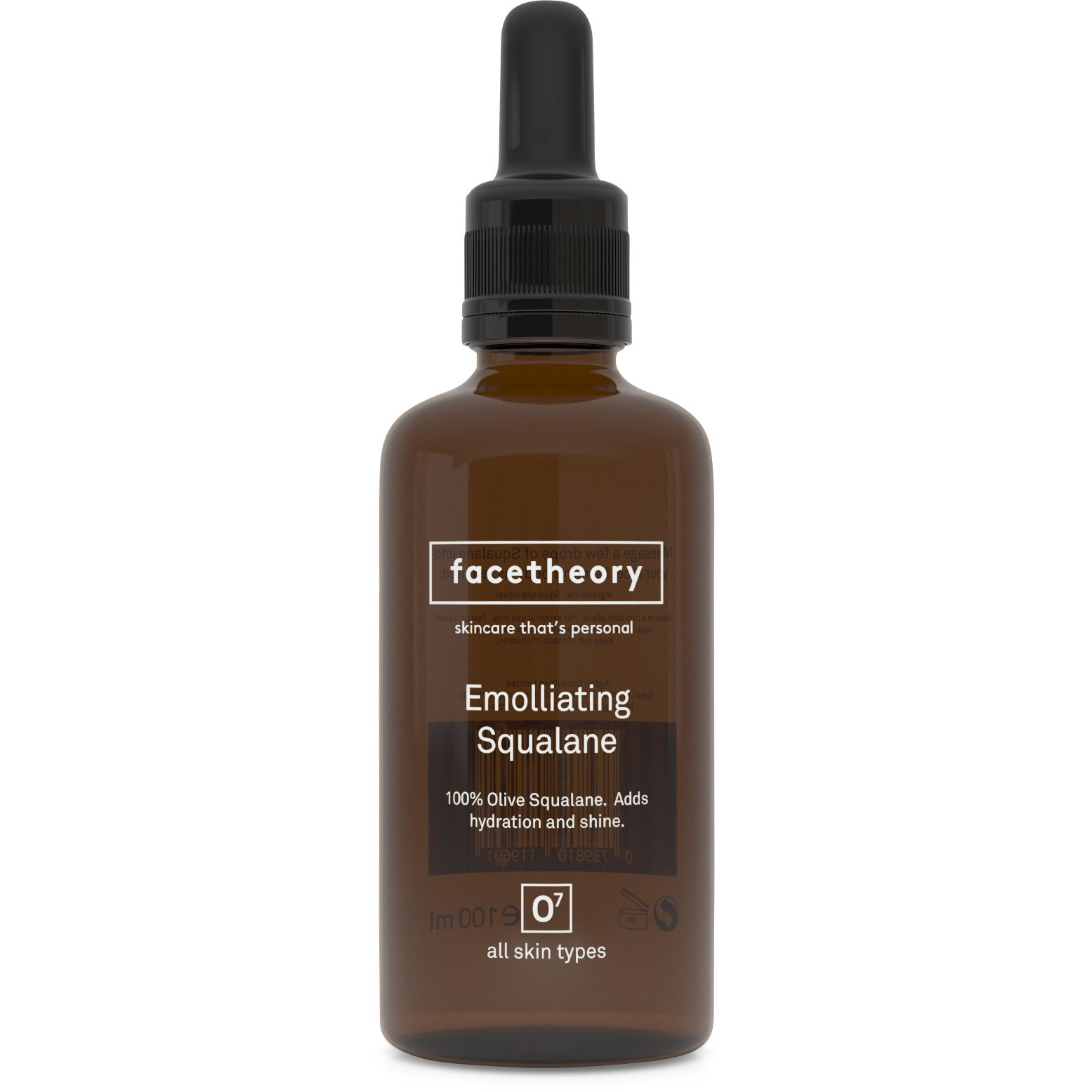 Facetheory Squalane Oil O7 (100ml). 100% Pure Vegan Olive Squalane - An Exceptional Emollient for Dry and Sensitive Skin.
