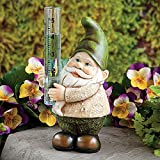 Bits and Pieces - Gnome Rain Gauge - Hand Painted Garden Décor - Sculpture for Your Garden, Lawn or Patio - Charming, Durable, Weather Resistant Polyresin Statue