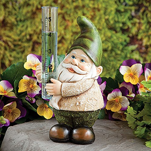 Bits and Pieces Garden Décor-Hand Painted Gnome Rain Gauge Sculpture for Your Garden, Lawn or Patio - Charming, Durable, Weather Resistant Polyresin (Rainfall Measure)