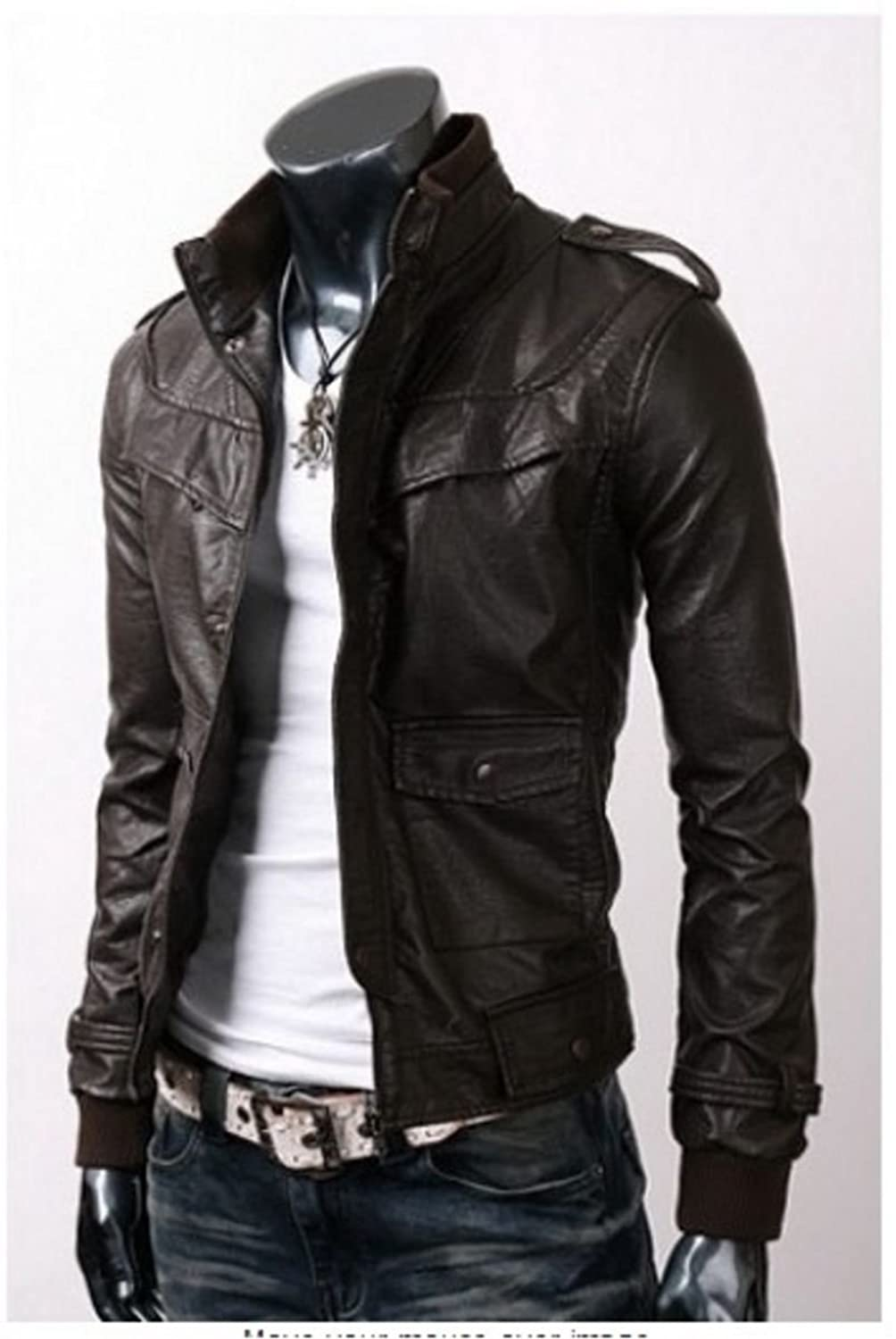 Men biker slim fit black Loofer Faux leather jacket-Available in all sizes