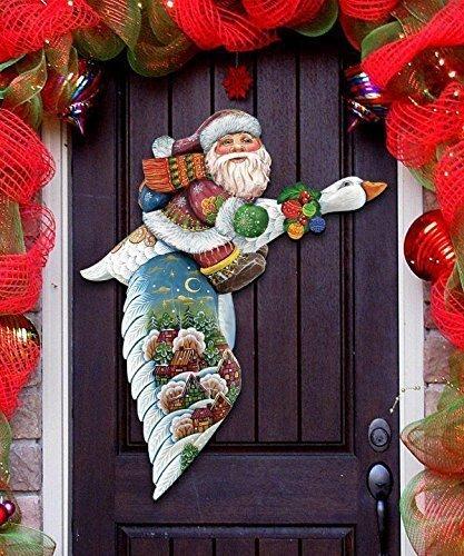 gdebrekht goose traveling santa indoor outdoor wooden hanging door decorations and wall sign - Handmade Wooden Outdoor Christmas Decorations