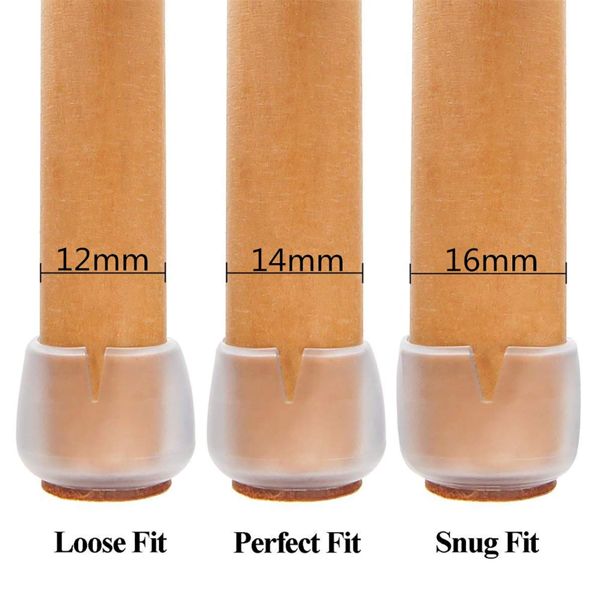 Anti-Scratch Foot Pads 1//2-5//8 Inch 32PCS Chair Leg Caps,Silicone Floor Protectors Roto Silicone Wood Floor Set Suitable for 12-16mm Round Legs Non-Slip Felt Pads