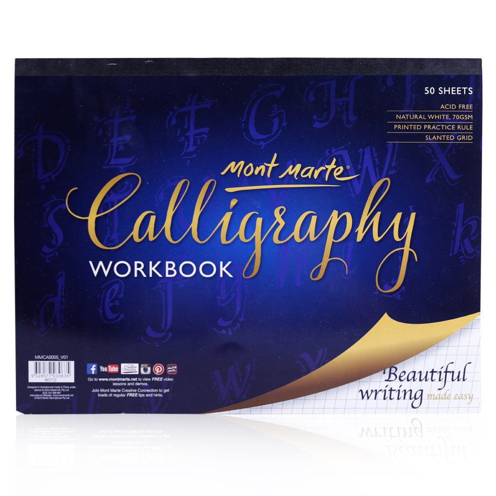 Mont Marte Calligraphy Paper Workbook 50 Sheets, 9 x 12 Inches. Acid Free Pages with Ruled Grids. Marte Marte