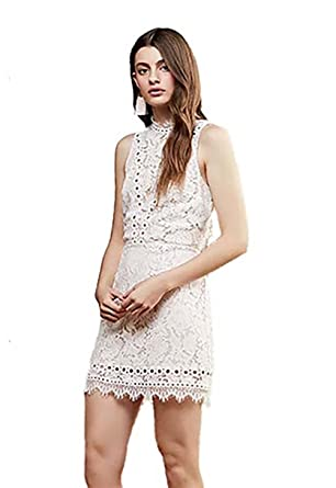 72ea3b494543 Saylor Cherie Lace Mini Dress in Ivory (Large) at Amazon Women's ...