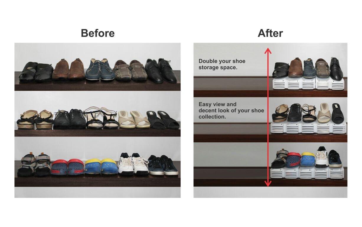 Aditya Polymers 8 Piece Plastic Shoe Organizer, White: Amazon.in: Home U0026  Kitchen