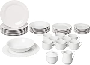 10 Strawberry Street Simply Round 45 Piece Dinnerware Set, White