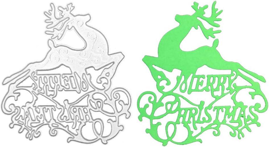 YRUICRAFT Words Merry Christmas Deer Die Cuts, Scrapbooking Metal Cutting Dies Stencils DIY Card Making Template for Photo Album Decorative Embossing Paper Craft