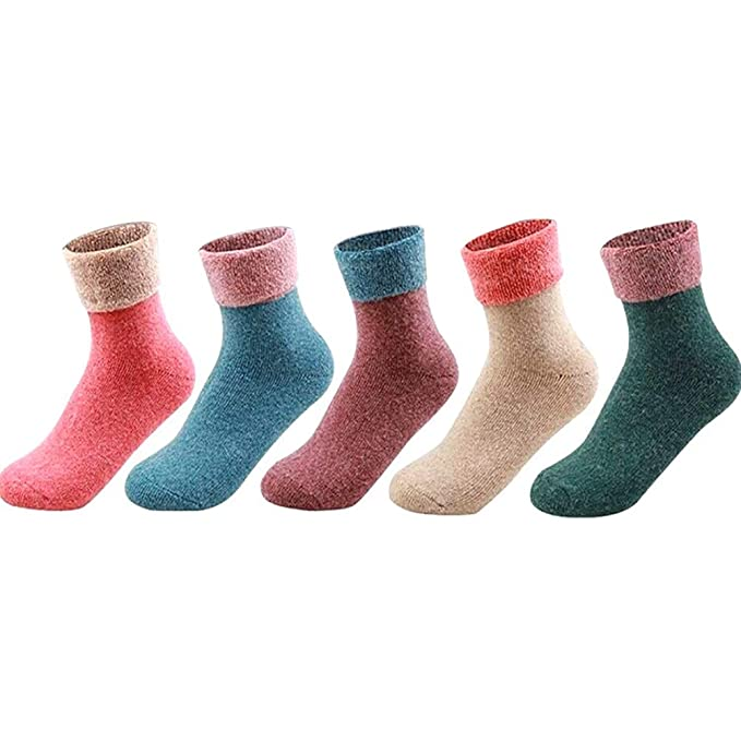 dbbf202ac 5Pairs 5 Colors Women Cotton Sock Slippers Contrast Candy Color Super  Winter Fluffy Socks Cashmere Wool Thermal Thicken Towel Hemming Warm Socks  Set  ...