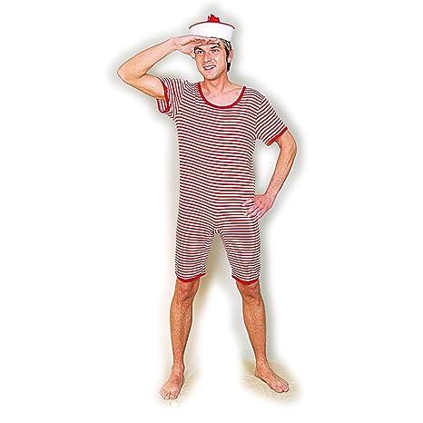 Monopezzo uomo stile marinaio Costume da bagno retro rosso-bianco S ...