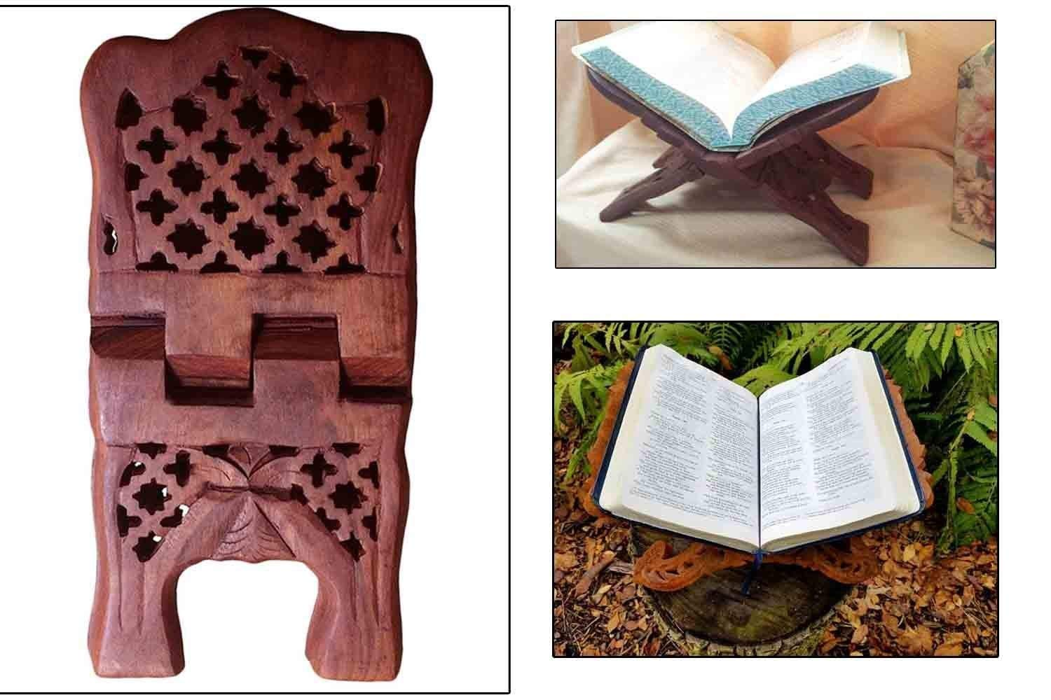 PMK Wooden Book Stand With Carving net Design Reeding Book Holder For Home//office religious Book Stand Like Kuran//bible//geeta bookshelf l 10 inch l