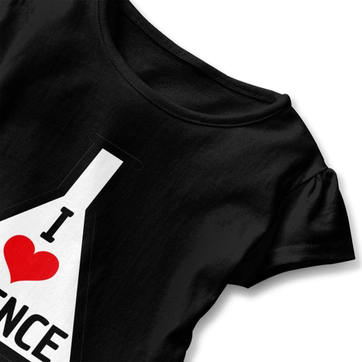 I Love Science Shirt Baby Girls Ruffles Short Sleeve Tee Shirts for 2-6 Years Old Baby