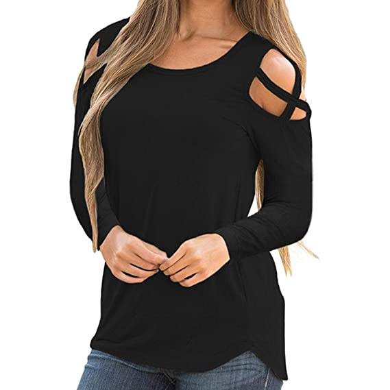 Bestow Color Mujer Manga Larga Strappy Cold Shoulder Solid Camiseta Tops Blusas Ropa Zapatos(Negro