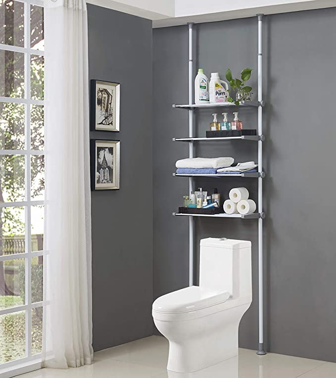 ALLZONE 4 Tier Over Commode Shelving, Over The Toilet Storage Rack, No Drilling, Easy to Assemble, Height and Width Adjustable best bathroom storage solutions
