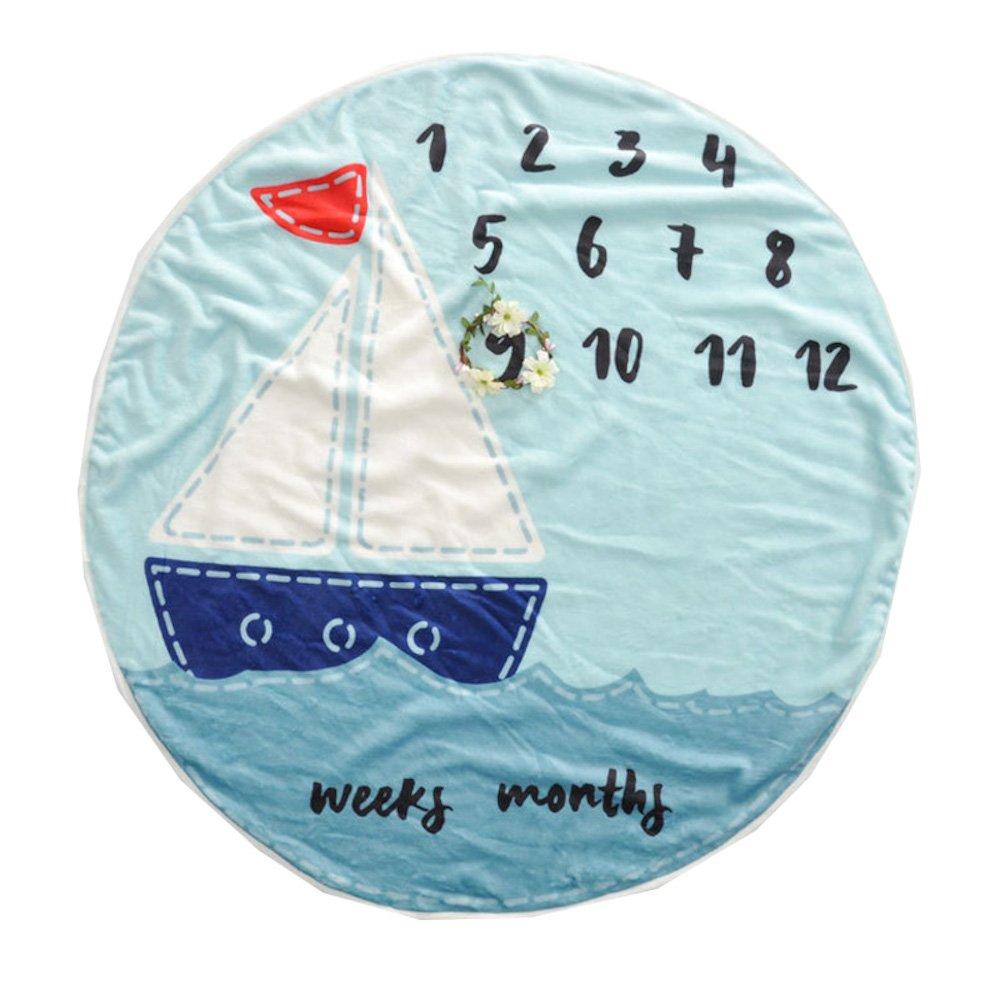 Premium Fleece Round Baby Milestone Blanket Blue Sailboat for Newborn to One Year 37''