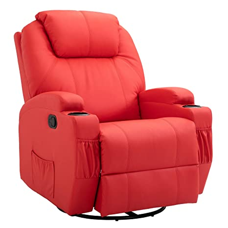 Strange Homcom Faux Leather Heated Massage Recliner Chair With Remote Bright Red Gmtry Best Dining Table And Chair Ideas Images Gmtryco
